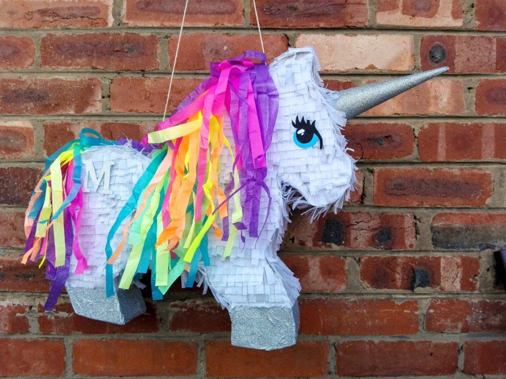 silver rainbow unicorn pinata